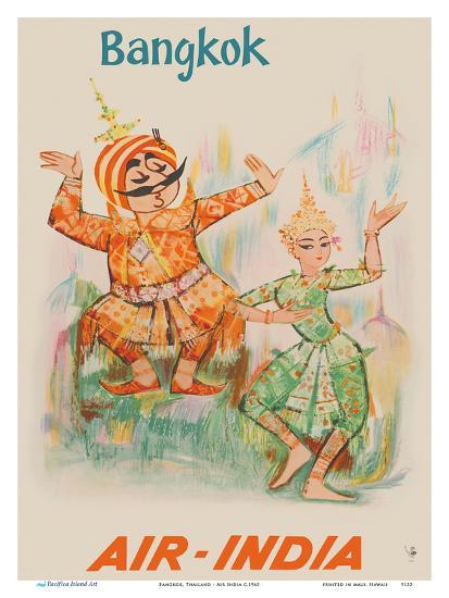 Bangkok, Thailand - Air India - Maharaja with Thai Classical Khon Dancer-Unknown-Art Print