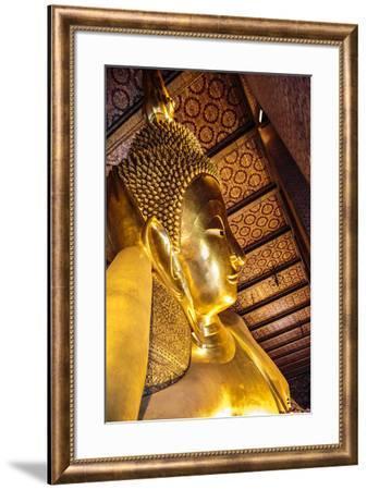 Bangkok, Thailand. Giant reclining gold Buddha statue at Wat Pho temple-Miva Stock-Framed Photographic Print
