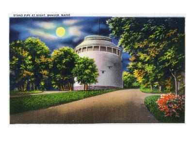 Bangor, Maine, View of the Stand Pipe at Night-Lantern Press-Art Print
