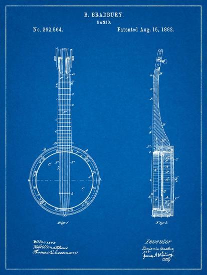 Banjo Mandolin Patent-Cole Borders-Art Print