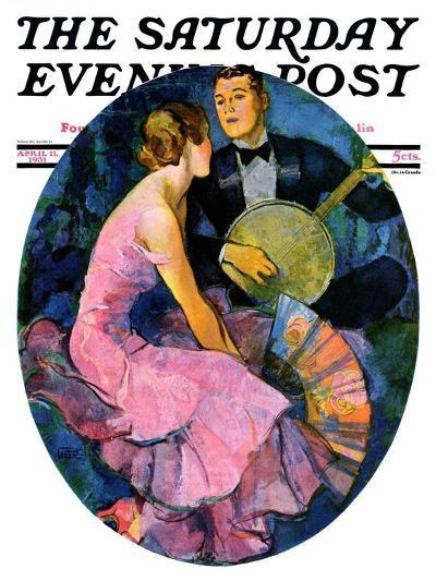 """Banjo Serenade,"" Saturday Evening Post Cover, April 11, 1931-John LaGatta-Giclee Print"