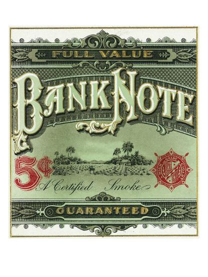 Bank Note Brand Cigar Outer Box Label-Lantern Press-Art Print