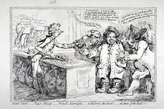 Bank-Notes, Paper Money, French Alarmists..., 1797-James Gillray-Giclee Print