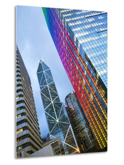 Bank of China Building and Hong Kong Skyline at Dusk, Central Business and Financial District, Hong-Gavin Hellier-Metal Print