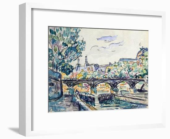 Bank of the Seine Near the Pont Des Arts with a View of the Louvre, Early 20th Century-Paul Signac-Framed Giclee Print