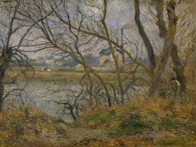 Banks of the River Oise Near Pontoise, Grey Sky, 1878-Camille Pissarro-Giclee Print