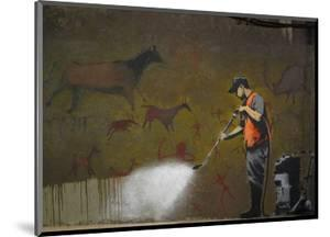 Cleaning Cave Drawings by Banksy