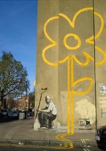 Double Yellow Lines Flower by Banksy