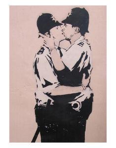 Kissing policemen by Banksy