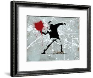 Painted heart Thrower by Banksy
