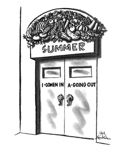 "Banner over door says ""Summer"" and is decorated with fruits and vegetables?"" - New Yorker Cartoon-Ed Fisher-Premium Giclee Print"