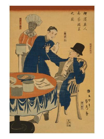 Banquet at a Foreign Mercantile House in Yokohama (Yokohama Ijin Sho?Ka Shuen No Zu)-Sadahide Utagawa-Art Print