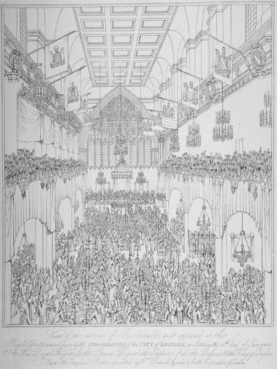 Banquet at the Guildhall, City of London, 1814-William Daniell-Giclee Print
