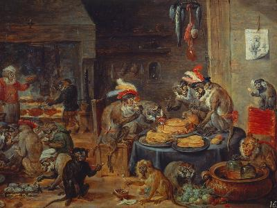 Banquet of Monkeys-David Teniers the Younger-Giclee Print