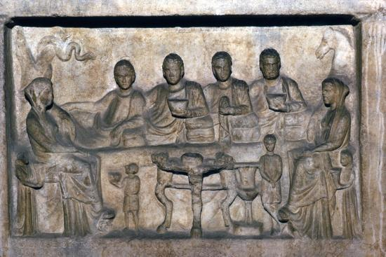 Banquet scene on funeral stele from Erdok, Turkey, Hellinistic period, c323 BC-31BC-Unknown-Giclee Print