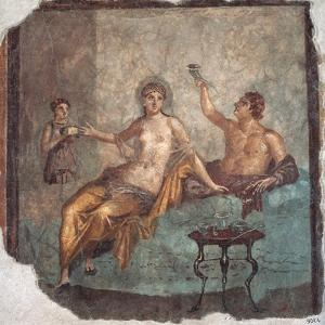 Banquet scene, Roman wall painting, from Herculaneum, 62-79 A.D. Archaeological Museum, Naples