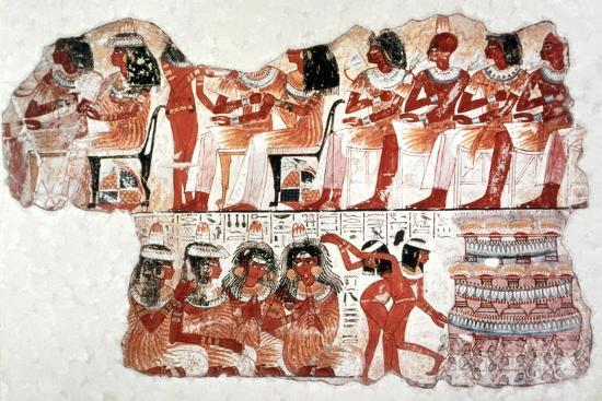 Banquet Scene, Wall Painting, Tomb of Nebamun, Thebes, 18th Dynasty. Artist: Unknown-Unknown-Giclee Print