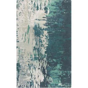 Banshee Repainted Area Rug - Teal/Light Gray 5' x 8'