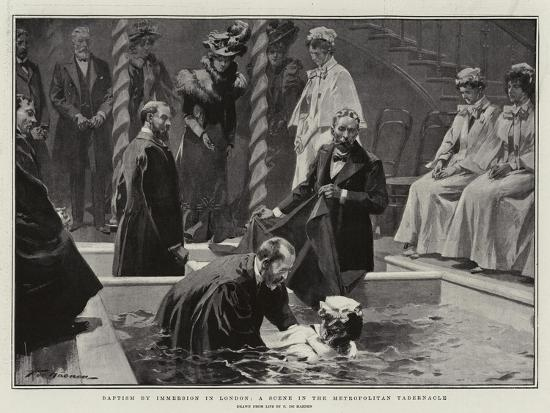 Baptism by Immersion in London, a Scene in the Metropolitan Tabernacle-Frederic De Haenen-Giclee Print