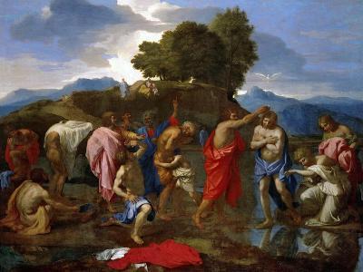 Baptism, Christ Baptized by Saint John-Nicolas Poussin-Giclee Print
