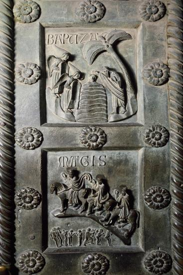 Baptism of Christ and Ride of Magi with Original Sin, Bronze Panels from St Ranieri's Door, Ca 1180-Bonanno Pisano-Giclee Print