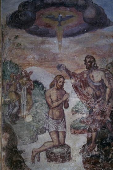 Baptism of Jesus in Jordan River, Fresco, Chapel of Baptismal Font, Basilica of San Giuliano--Giclee Print