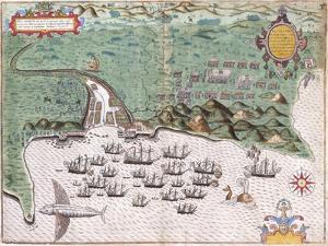 View-Plan of Santiago by Baptista Boazio