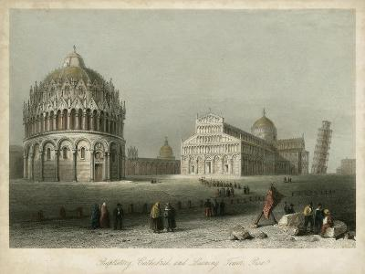 Baptistry, Cathedral &Leaning Tower-W.H. Bartlett-Art Print