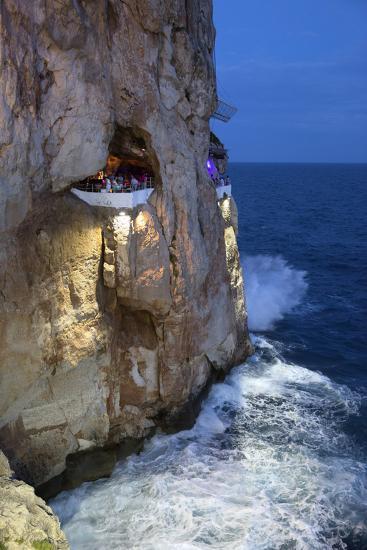 Bar Built in Cliff Caves, Cova D'En Xoroi in Evening, Cala En Porter-Stuart Black-Photographic Print