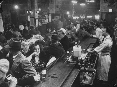 Bar Crammed with Patrons at Sammy's Bowery Follies-Alfred Eisenstaedt-Photographic Print