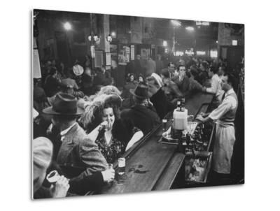 Bar Crammed with Patrons at Sammy's Bowery Follies-Alfred Eisenstaedt-Metal Print