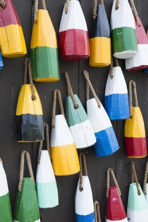 Bar Harbor, Maine, Colorful Buoys on Wall for Sale and State Specialty Souvenirs for Lobster Traps-Bill Bachmann-Photographic Print