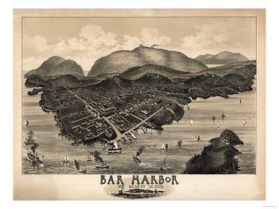 Bar Harbor, Maine - Panoramic Map-Lantern Press-Art Print