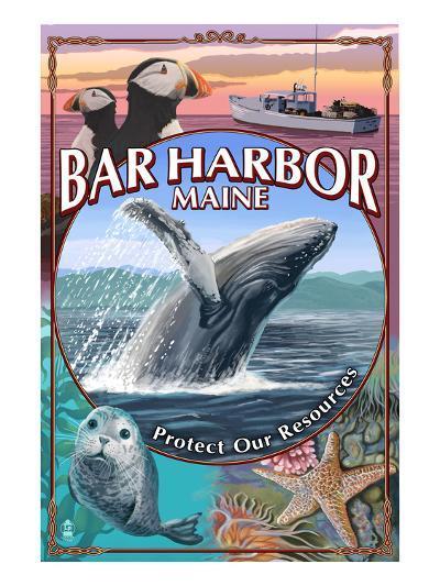 Bar Harbor, Maine - Wildlife Montage-Lantern Press-Art Print