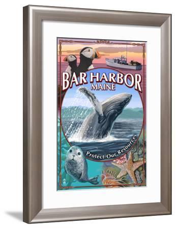Bar Harbor, Maine - Wildlife Montage-Lantern Press-Framed Art Print