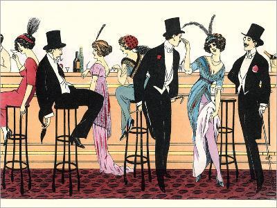 Bar In Brothel 1890-Found Image Press-Art Print