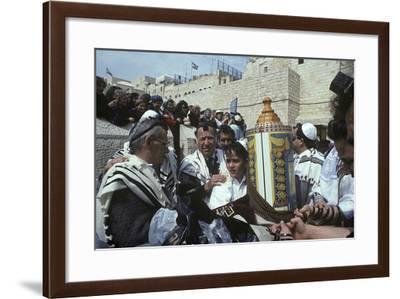 Bar Mitzvah at Wailing Wall, Jerusalem, Israel--Framed Photographic Print