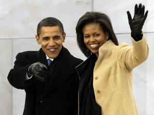 Barack Obama and His Wife Arrive at the Opening Inaugural Celebration at the Lincoln Memorial