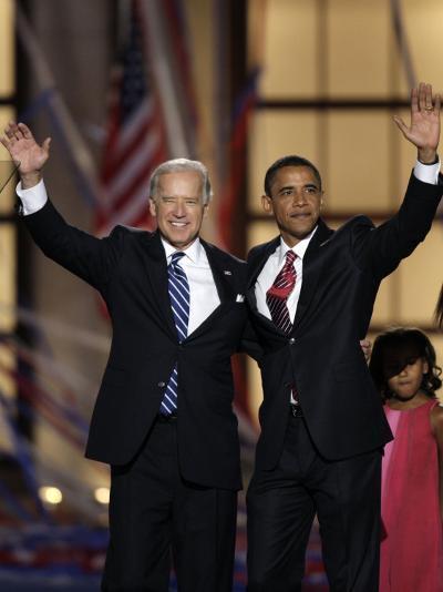 Barack Obama and Joe Biden at the Democratic National Convention 2008, Denver, CO--Photographic Print