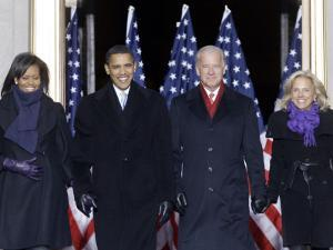 Barack Obama and the Joe Biden, Along with Their Wives, are Introduced at the War Memorial Plaza