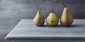 Still Life with Three Autumn Pears on an Old Table by Barbara Dudzinska