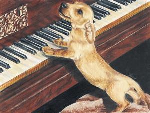Dachsund Playing Piano by Barbara Keith