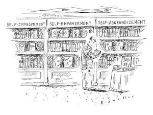 "A man at a bookstore stands near three shelves: ""self-improvement,"" ""self-? - New Yorker Cartoon by Barbara Smaller"