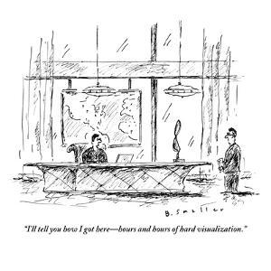 """""""I'll tell you how I got here?hours and hours of hard visualization."""" - New Yorker Cartoon by Barbara Smaller"""