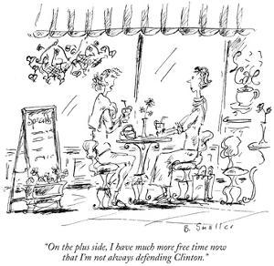 """""""On the plus side, I have much more free time now that I'm not always defe…"""" - New Yorker Cartoon by Barbara Smaller"""