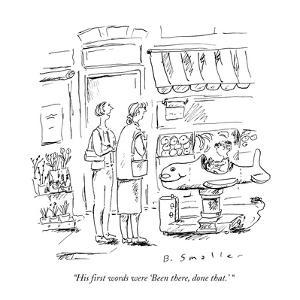 Woman to friend about her child as he rides on a kiddie coin-operated rock? - New Yorker Cartoon by Barbara Smaller
