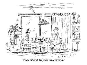 """""""You're eating it, but you're not savoring it."""" - New Yorker Cartoon by Barbara Smaller"""