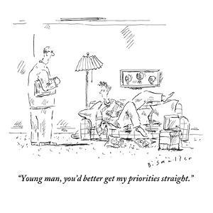 """""""Young man, you'd better get my priorities straight."""" - New Yorker Cartoon by Barbara Smaller"""