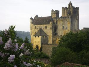Chateau of Beynac with Lilac Bush in Foreground by Barbara Van Zanten