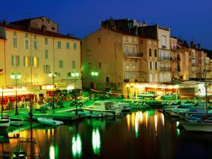Harbour at Night with Buildings Along Quais Frederic Mistral and Jean Jaures, St. Tropez, France by Barbara Van Zanten